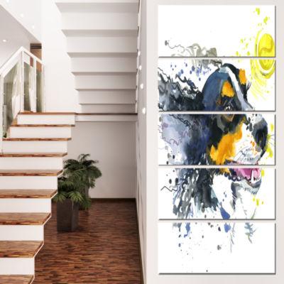 Designart Dog And Yellow Ball Watercolor AbstractCanvas ArtPrint - 5 Panels
