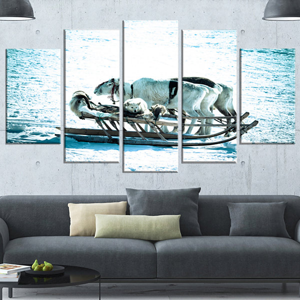 Dogs On Reindeer Sleigh Oversized Animal Wrapped Wall Art - 5 Panels