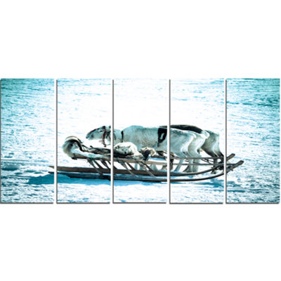Designart Dogs On Reindeer Sleigh Oversized AnimalWall Art- 5 Panels