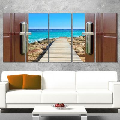 Designart Door Open To Wooden Ocean Pier Wooden Sea Bridge Wrapped Canvas Wall Art - 5 Panels