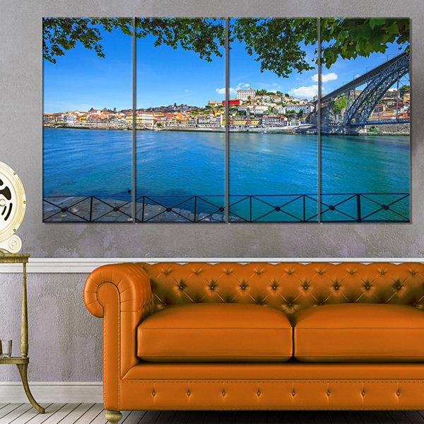 Douro River And Iron Bridge Portugal Extra Large Landscape Canvas Art - 4 Panels