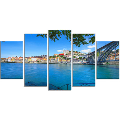 Designart Douro River And Iron Bridge Portugal Extra Large Landscape Wrapped Canvas Art - 5 Panels