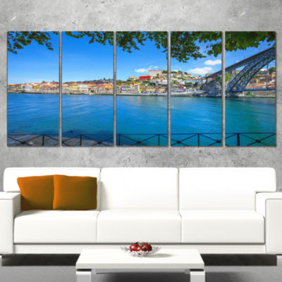Designart Douro River And Iron Bridge Portugal Extra Large Landscape Canvas Art - 5 Panels
