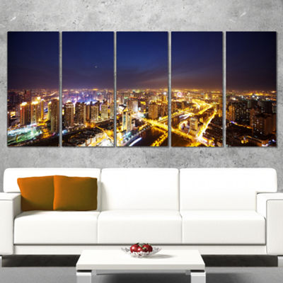 Designart Downtown Nighttime Panorama Cityscape Wrapped Canvas Art Print - 5 Panels