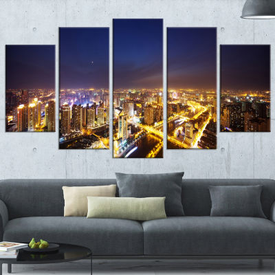 Downtown Nighttime Panorama Cityscape Wrapped Canvas Art Print - 5 Panels