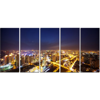 Downtown Nighttime Panorama Cityscape Canvas Art Print - 5 Panels