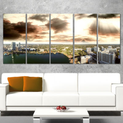 Designart Downtown Orlando Sunset Aerial Extra Large Seascape Art Canvas - 5 Panels