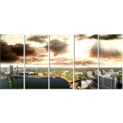 Downtown Orlando Sunset Aerial Extra Large Seascape Art Canvas - 5 Panels