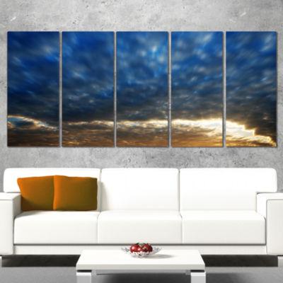 Designart Dramatic Blue And Brown Skies Modern Seascape Canvas Artwork - 4 Panels