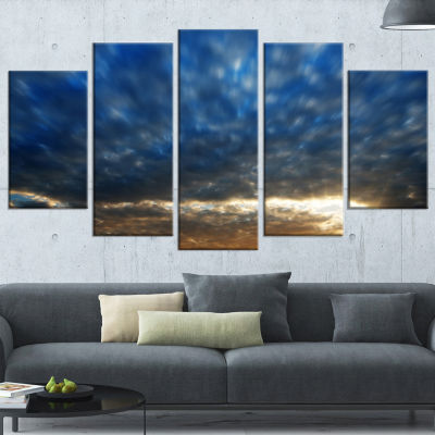 Dramatic Blue And Brown Skies Modern Seascape Wrapped Canvas Artwork - 5 Panels