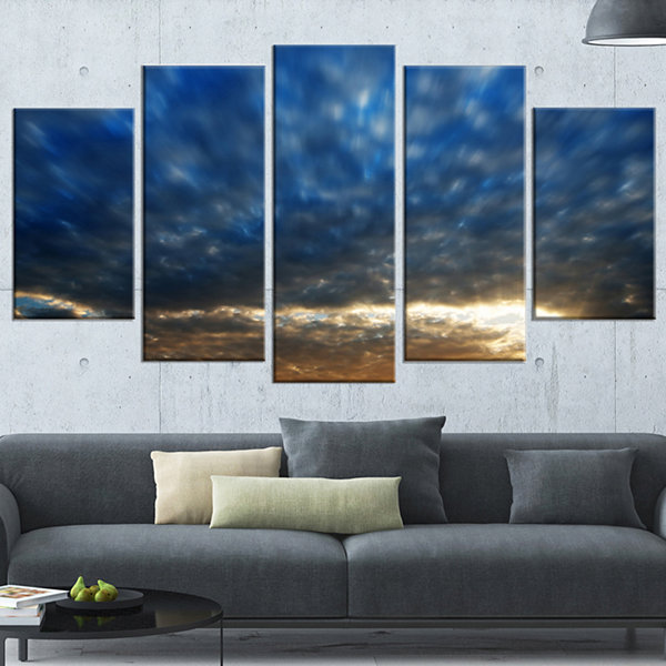 Designart Dramatic Blue And Brown Skies Modern Seascape Wrapped Canvas Artwork - 5 Panels