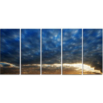 Dramatic Blue And Brown Skies Modern Seascape Canvas Artwork - 5 Panels