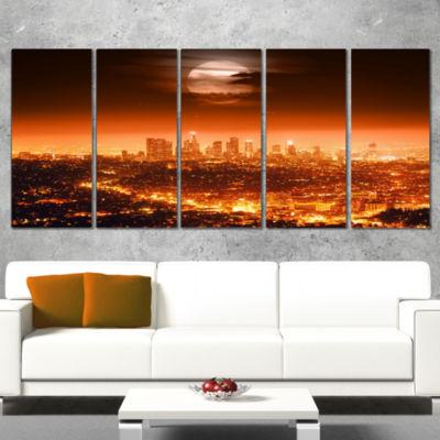 Designart Dramatic Full Moon Over Los Angeles Cityscape Canvas Print - 4 Panels
