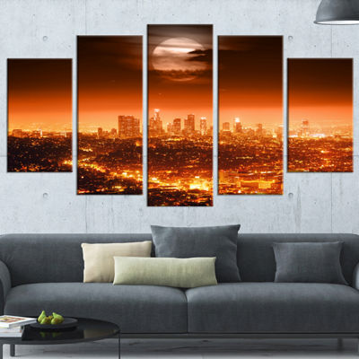 Designart Dramatic Full Moon Over Los Angeles Cityscape Wrapped Canvas Print - 5 Panels