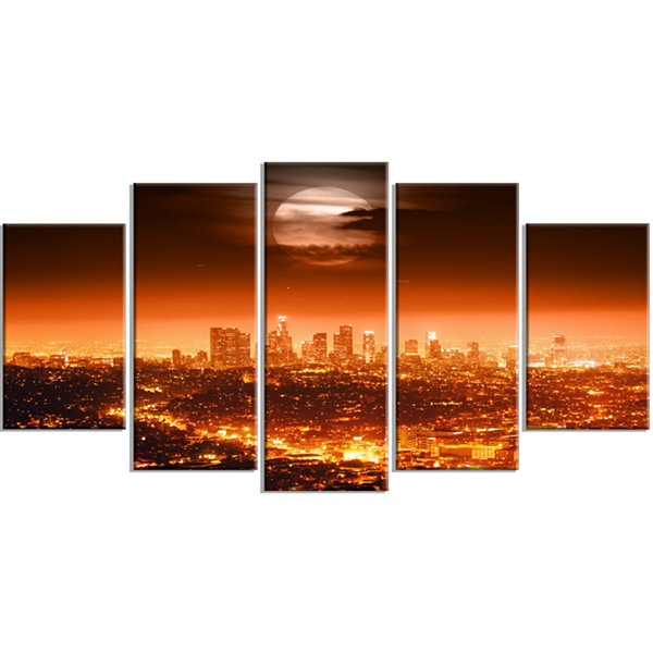 Dramatic Full Moon Over Los Angeles Cityscape Wrapped Canvas Print - 5 Panels