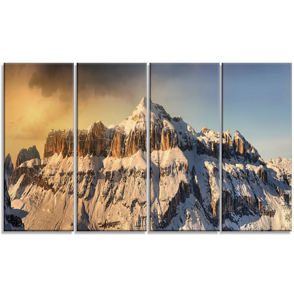 Designart Dramatic Overcast Sky Over Alps Landscape Canvas Art Print - 4 Panels