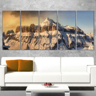 Designart Dramatic Overcast Sky Over Alps Landscape WrappedCanvas Art Print - 5 Panels