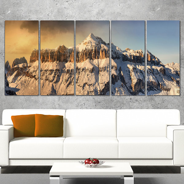 Designart Dramatic Overcast Sky Over Alps Landscape Canvas Art Print - 5 Panels