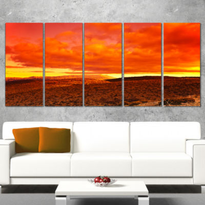 Designart Dramatic Red Sunset At Desert Extra Large Wall ArtLandscape - 4 Panels