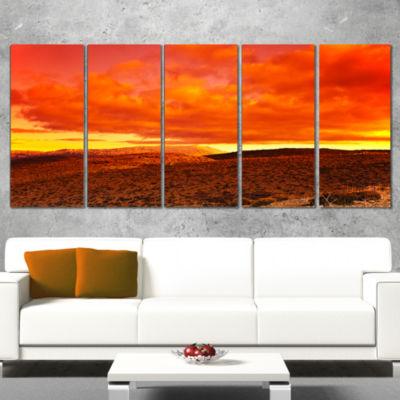 Designart Dramatic Red Sunset At Desert Extra Large WrappedWall Art Landscape - 5 Panels