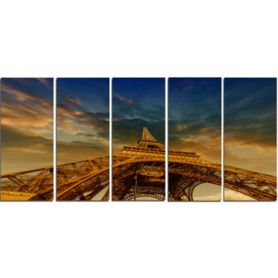 Dramatic Sky Above Paris Paris Eiffel Towerin Paris Cityscape Canvas Print - 5 Panels