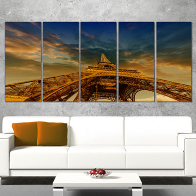 Designart Dramatic Sky Above Paris Paris Eiffel Towerin Paris Cityscape Canvas Print - 5 Panels