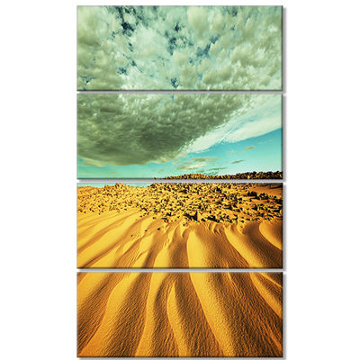 Designart Dramatic Sky Above Sand Desert LandscapeWall ArtOn Canvas - 4 Panels