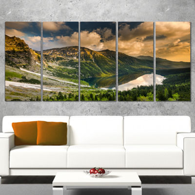 Designart Dramatic Sky Over Alpine Lake LandscapeCanvas ArtPrint - 5 Panels