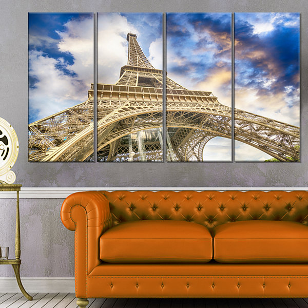 Designart Dramatic Sky Over Ground View Of Paris Paris Eiffel Tower Cityscape Canvas Print - 4 Panels