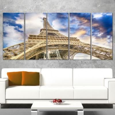 Designart Dramatic Sky Over Ground View Of Paris Paris Eiffel Tower Cityscape Canvas Print - 5 Panels