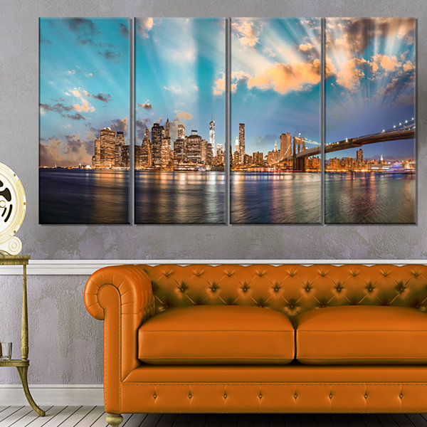 Designart Dramatic Sky Over Manhattan City Cityscape CanvasPrint - 4 Panels