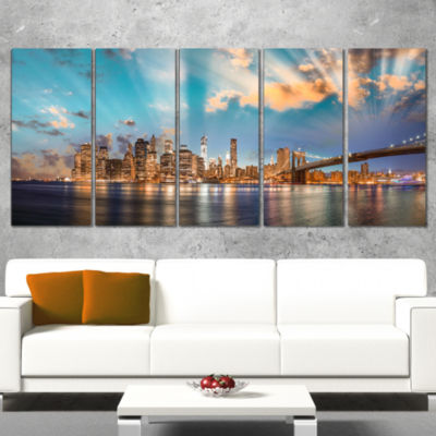 Designart Dramatic Sky Over Manhattan City Cityscape WrappedCanvas Print - 5 Panels