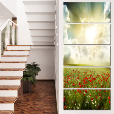 Designart Dramatic Sky Over Poppy Field Extra Large Landscape Canvas Art - 5 Panels