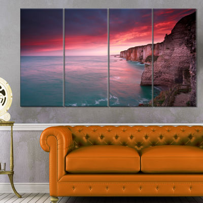 Dramatic Sunrise Over Sea And Cliffs Beach Photo Canvas Print - 4 Panels