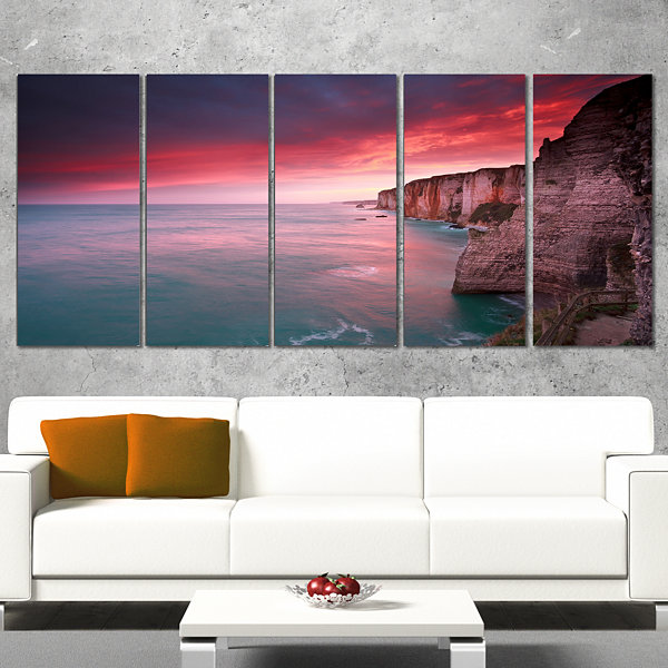 Designart Dramatic Sunrise Over Sea And Cliffs Beach Photo Wrapped Canvas Print - 5 Panels