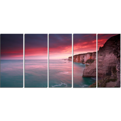 Dramatic Sunrise Over Sea And Cliffs Beach Photo Canvas Print - 5 Panels
