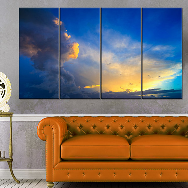 Designart Dramatic Sunset Sky With Thunderstorm Beach PhotoCanvas Print - 4 Panels
