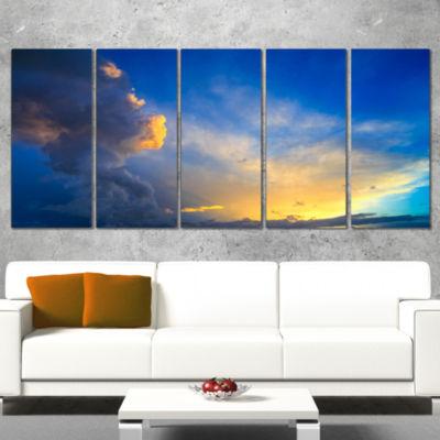 Designart Dramatic Sunset Sky With Thunderstorm Beach PhotoWrapped Canvas Print - 5 Panels