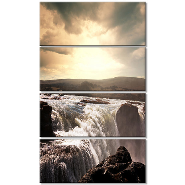 Designart Dramatic Waterfalls In Iceland LandscapeCanvas Art Print - 4 Panels