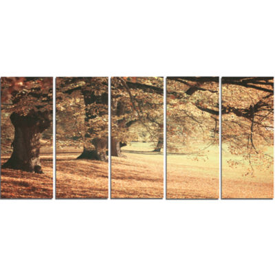 Dreamy Imagery Of Autumn Forest Modern Forest Canvas Art - 5 Panels