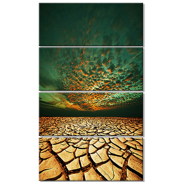 Designart Drought Land Under Blue Sky Oversized Landscape Canvas Art - 4 Panels