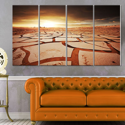 Drought Land Under Dark Skies Oversized African Landscape Canvas Art - 4 Panels