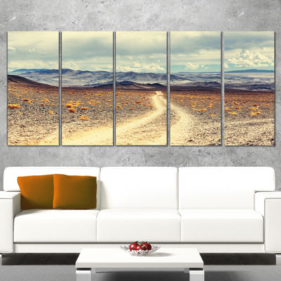 Designart Dry Grass And Mountains In Argentina Oversized Landscape Wrapped Canvas Art - 5 Panels