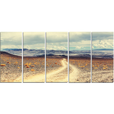 Designart Dry Grass And Mountains In Argentina Oversized Landscape Canvas Art - 5 Panels