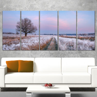 Dry Oak Tree In Winter Panorama Landscape Print Wrapped Wall Artwork - 5 Panels