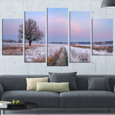 Designart Dry Oak Tree In Winter Panorama Landscape Print Wrapped Wall Artwork - 5 Panels
