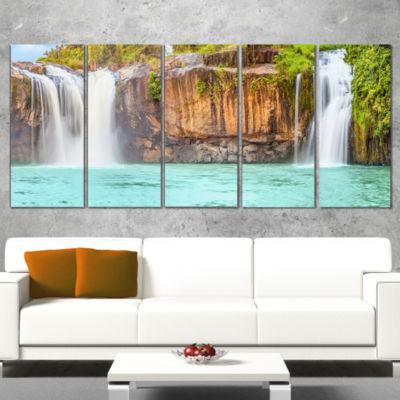 Designart Dry Sap Waterfall Photography Wrapped Canvas Art Print - 5 Panels