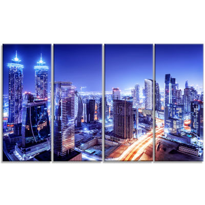 Dubai Downtown Night Scene Cityscape Photography Canvas Print - 4 Panels