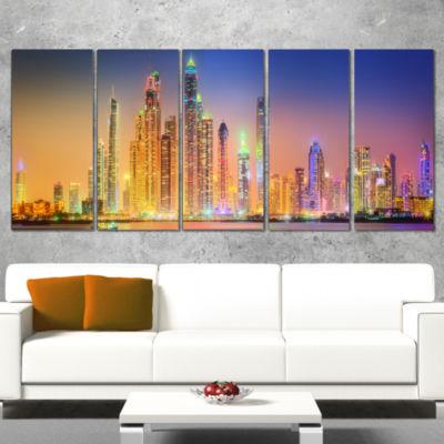 Designart Dubai Marina Skyscrapers Panorama Cityscape Wrapped Canvas Print - 5 Panels