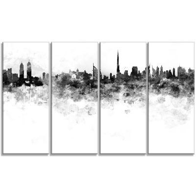 Designart Dubai Skyline Cityscape Canvas Artwork Print - 4 Panels